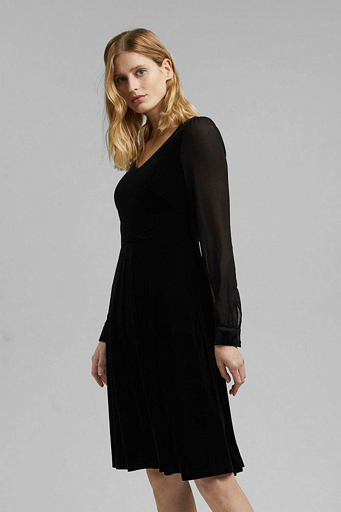 Recycled: velvet dress with chiffon sleeves, BLACK, detail image number 0
