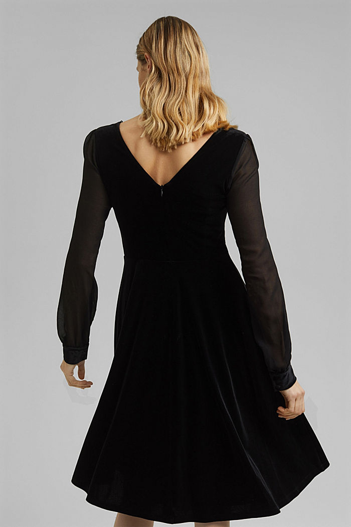 Recycled: velvet dress with chiffon sleeves, BLACK, detail image number 2