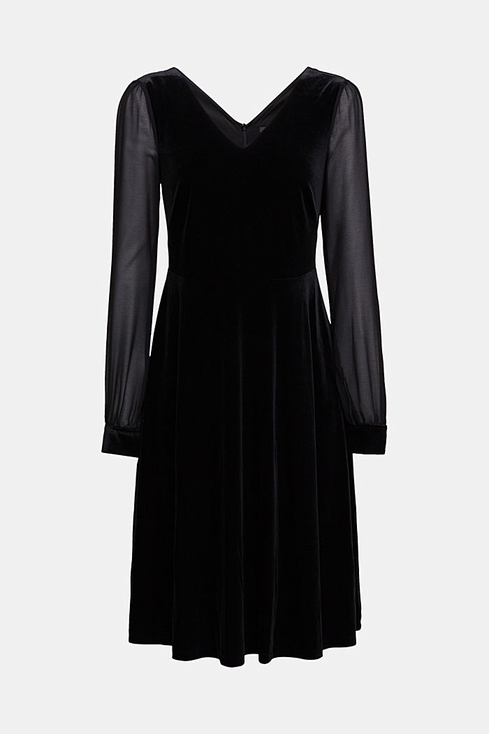 Recycled: velvet dress with chiffon sleeves