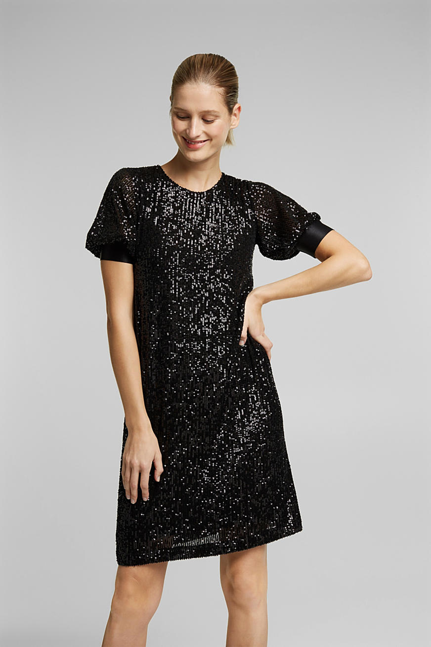 Mesh dress with sequins
