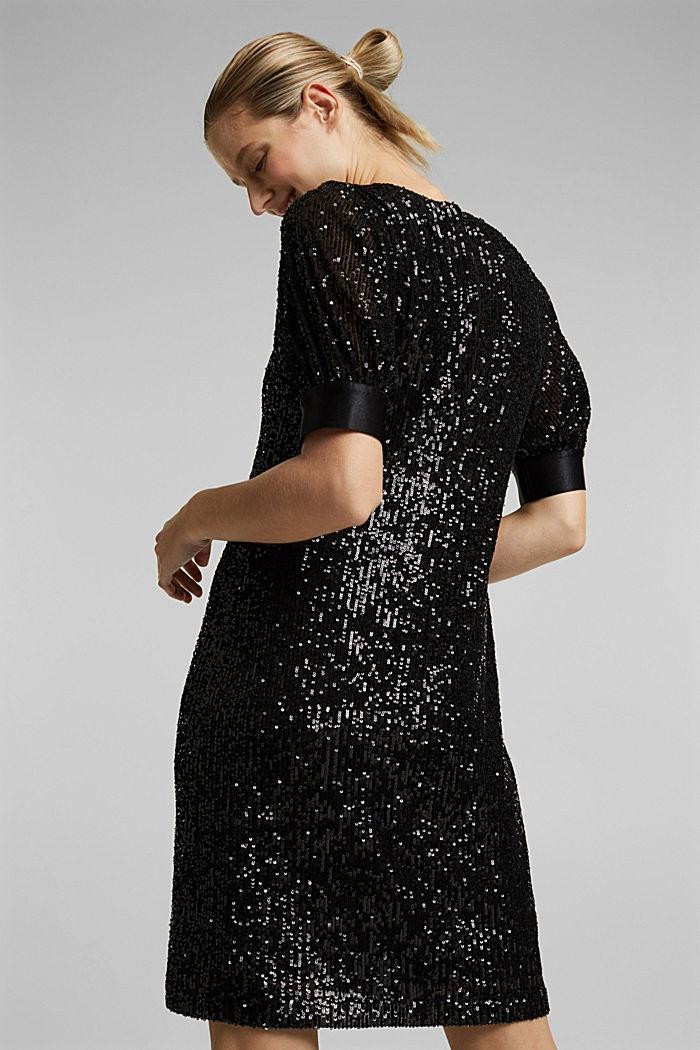 Mesh dress with sequins, BLACK, detail image number 2