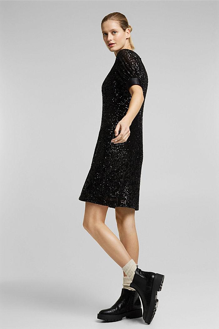 Mesh dress with sequins, BLACK, detail image number 1