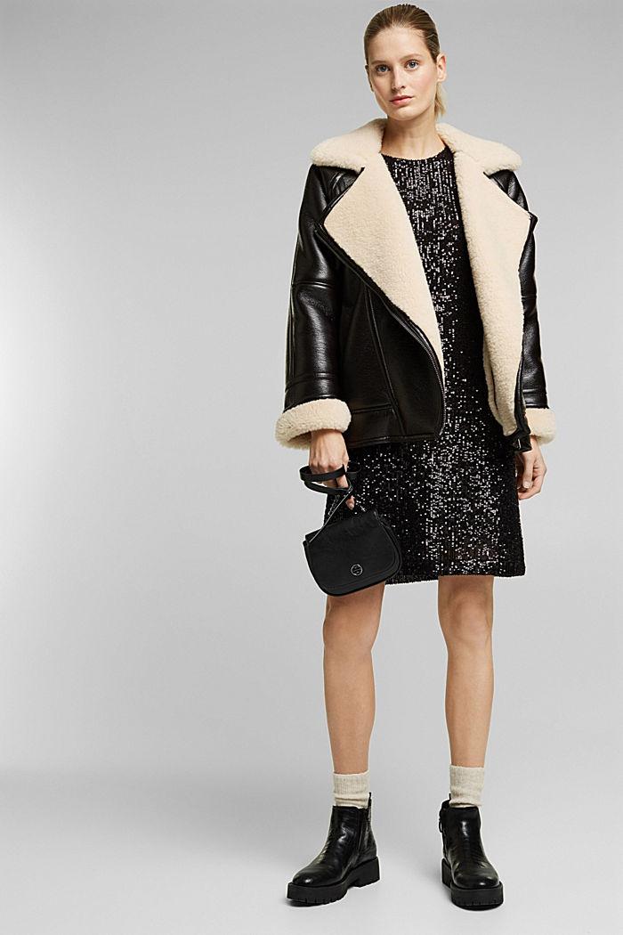 Mesh dress with sequins, BLACK, detail image number 4