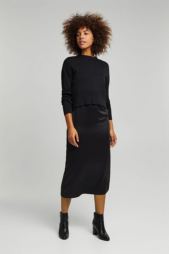 2-in-1: Satin-Kleid mit Ripp-Pullover