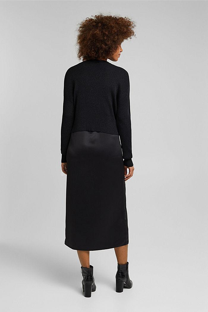 2-in-1: satin dress with ribbed jumper, BLACK, detail image number 2