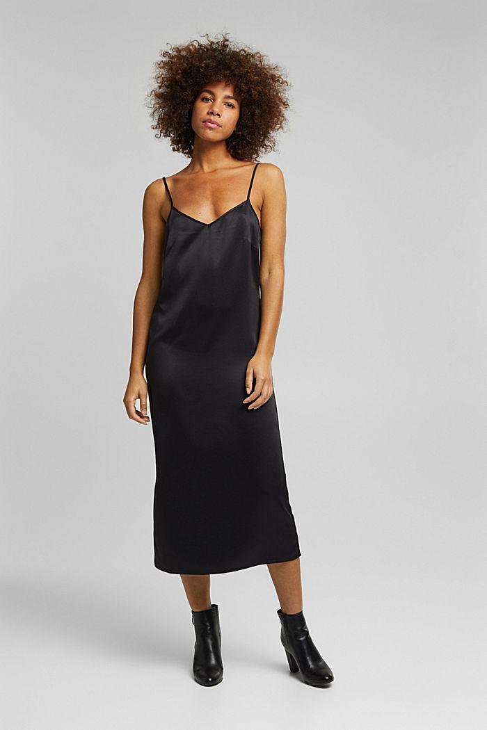 2-in-1: satin dress with ribbed jumper, BLACK, detail image number 5
