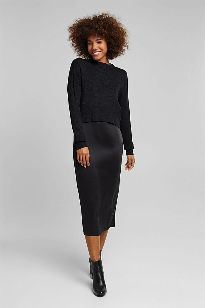 2-in-1: satin dress with ribbed jumper, BLACK, detail image number 1