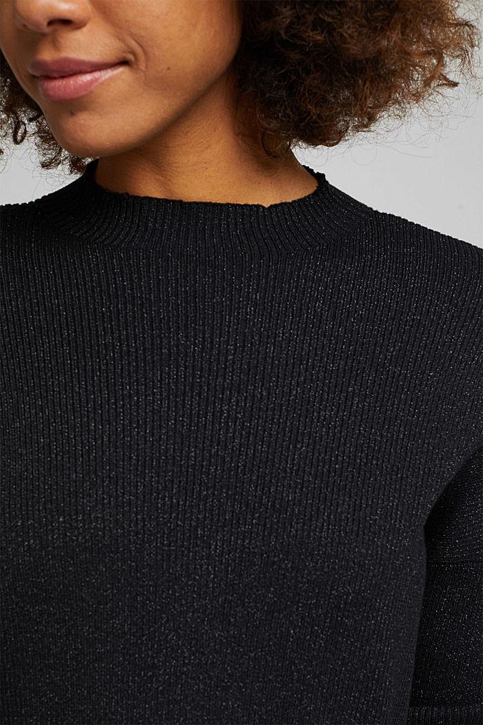 2-in-1: satin dress with ribbed jumper, BLACK, detail image number 3