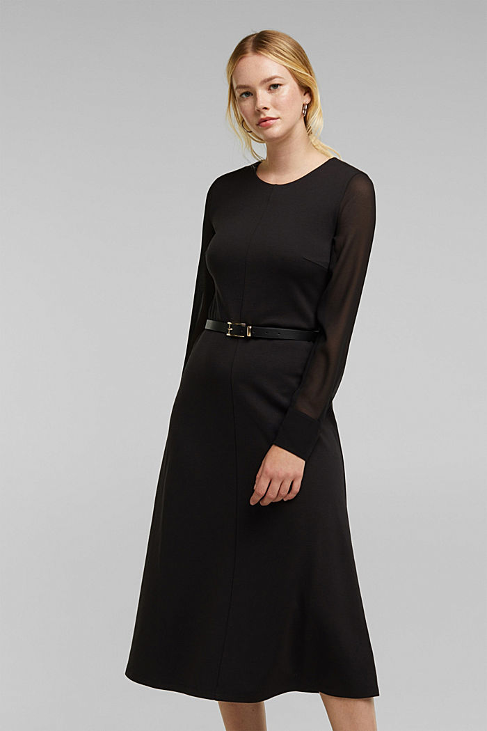 Jersey dress with chiffon sleeves