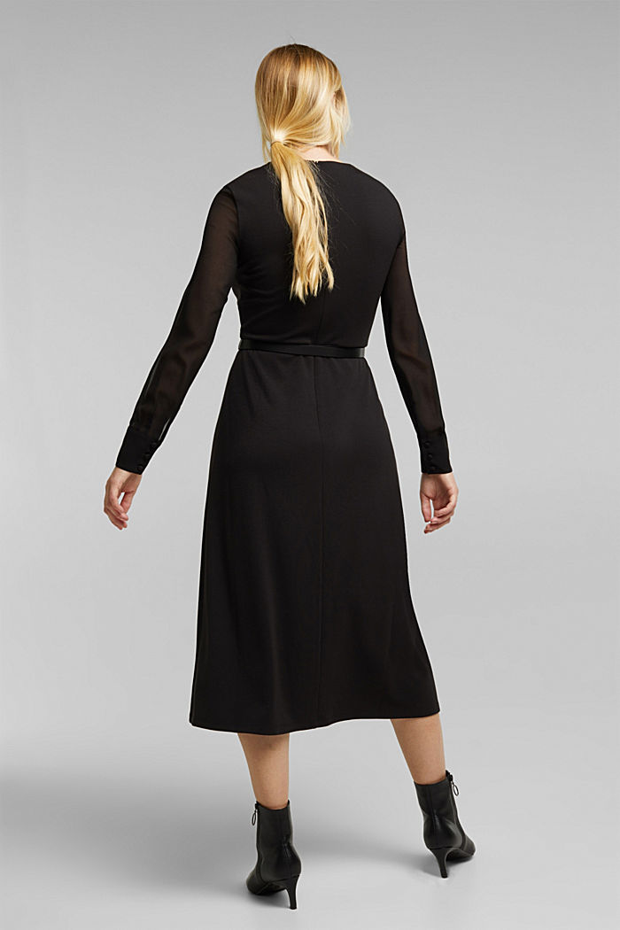 Jersey dress with chiffon sleeves, BLACK, detail image number 2