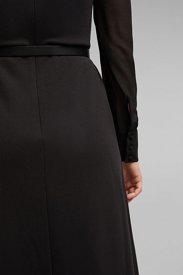 Jersey dress with chiffon sleeves, BLACK, detail image number 5