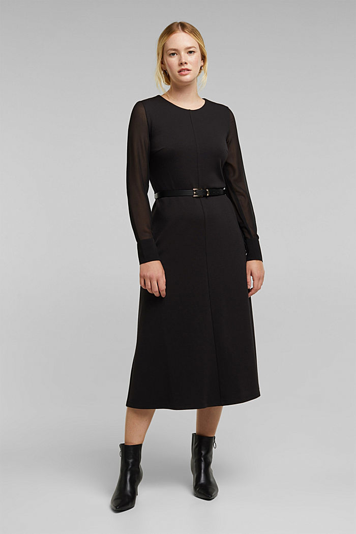 Jersey dress with chiffon sleeves, BLACK, detail image number 1