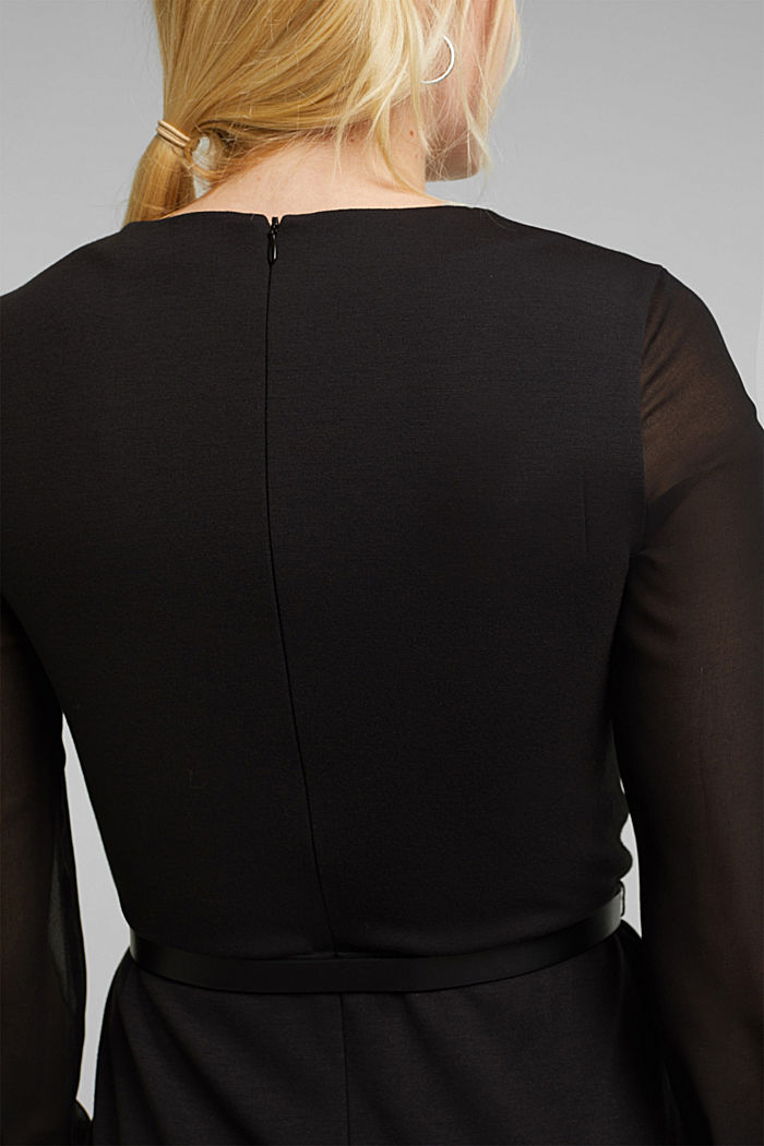 Jersey dress with chiffon sleeves, BLACK, detail image number 6