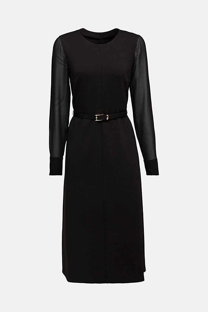 Jersey dress with chiffon sleeves, BLACK, detail image number 8