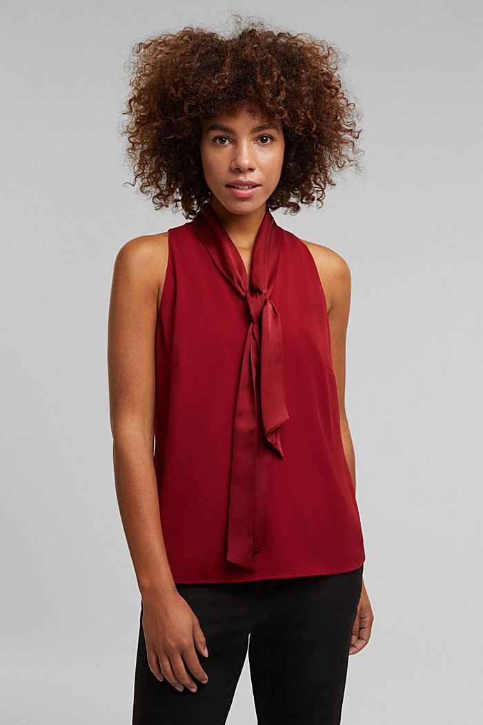 Recycled: satin blouse top with a pussycat bow