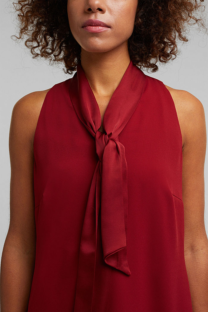 Recycled: satin blouse top with a pussycat bow, DARK RED, detail image number 2