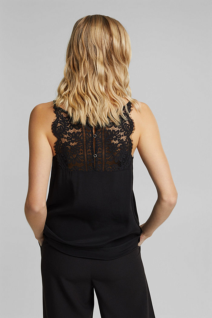 Crêpe top with lace, LENZING™ ECOVERO™, BLACK, detail image number 3