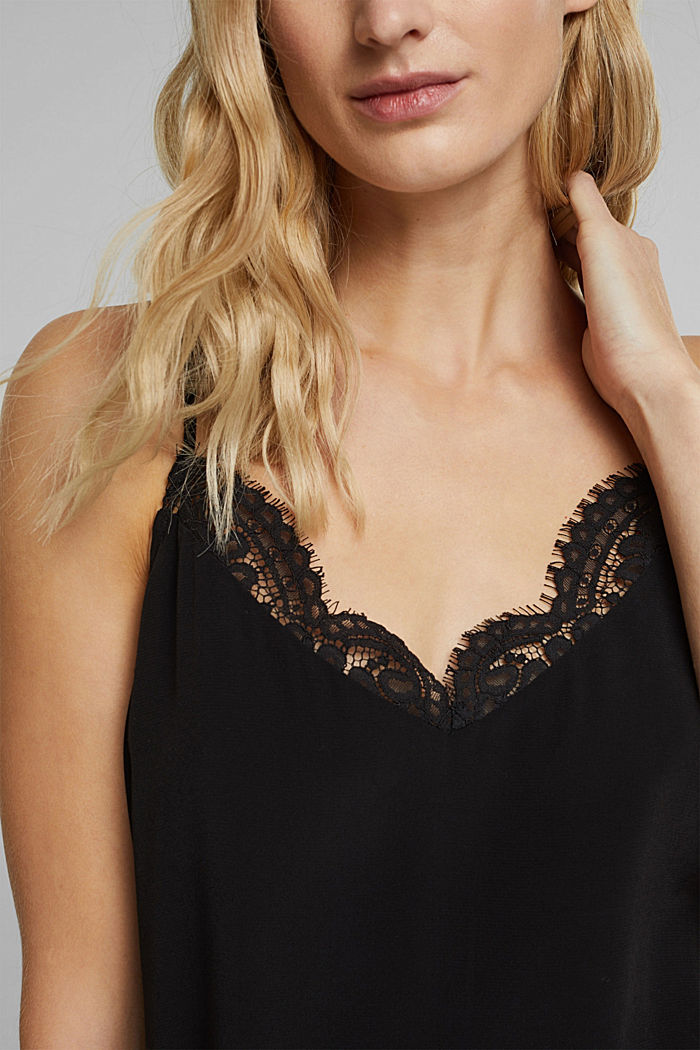 Crêpe top with lace, LENZING™ ECOVERO™, BLACK, detail image number 2