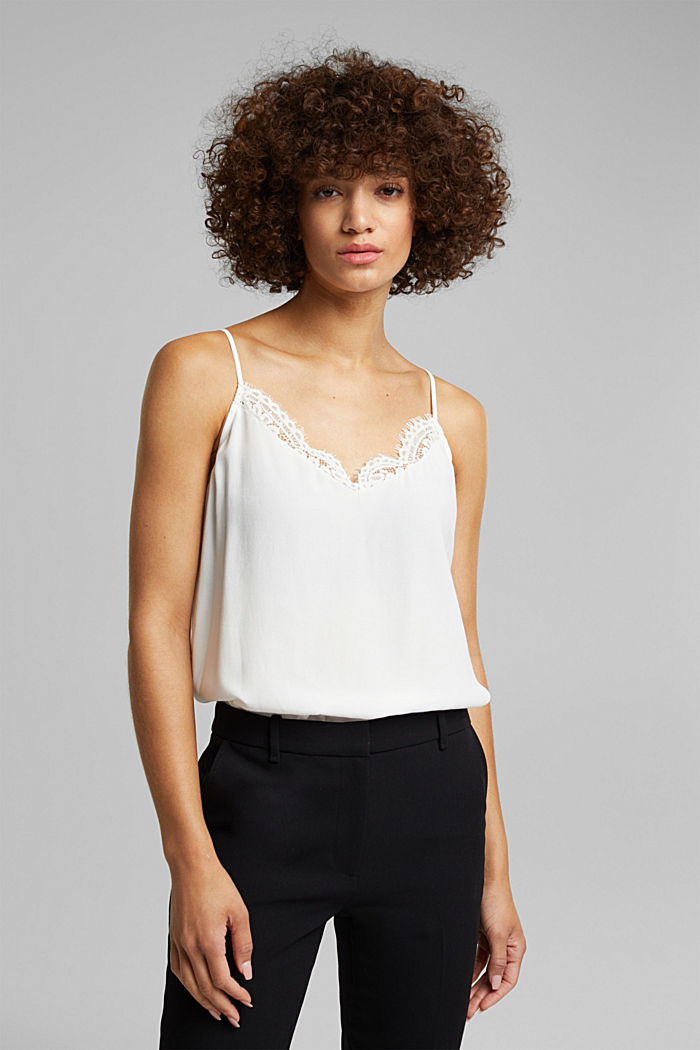 Crêpe top with lace, LENZING™ ECOVERO™, OFF WHITE, detail image number 0