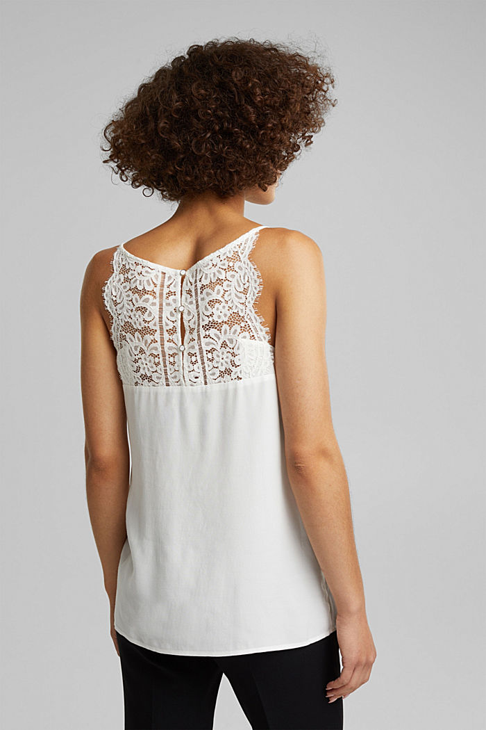 Crêpe top with lace, LENZING™ ECOVERO™, OFF WHITE, detail image number 3