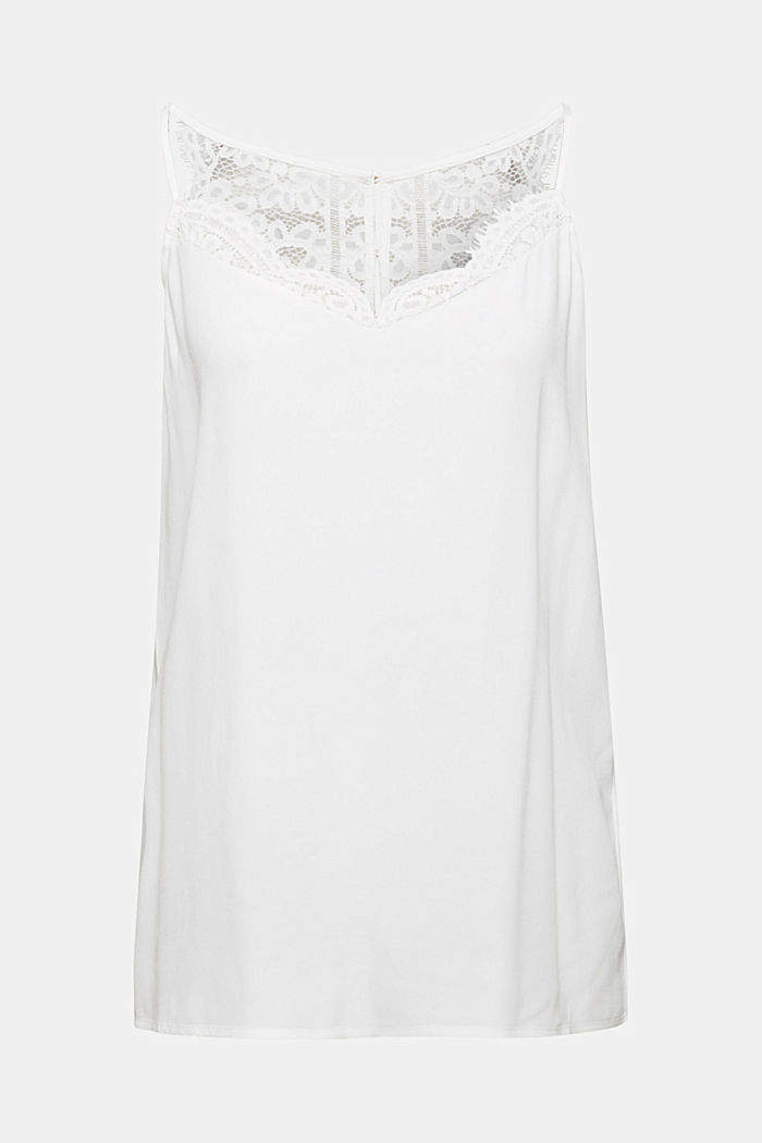 Crêpe top with lace, LENZING™ ECOVERO™, OFF WHITE, detail image number 8