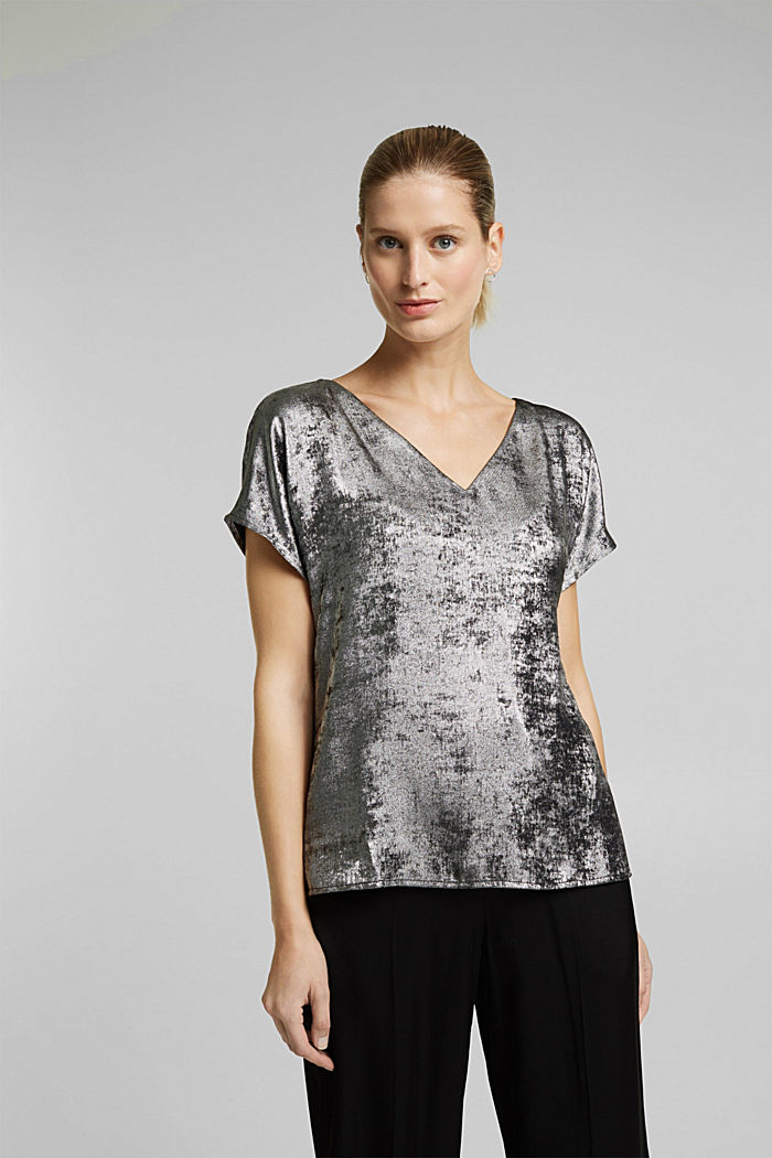 Iridescent blouse top, SILVER, detail image number 0