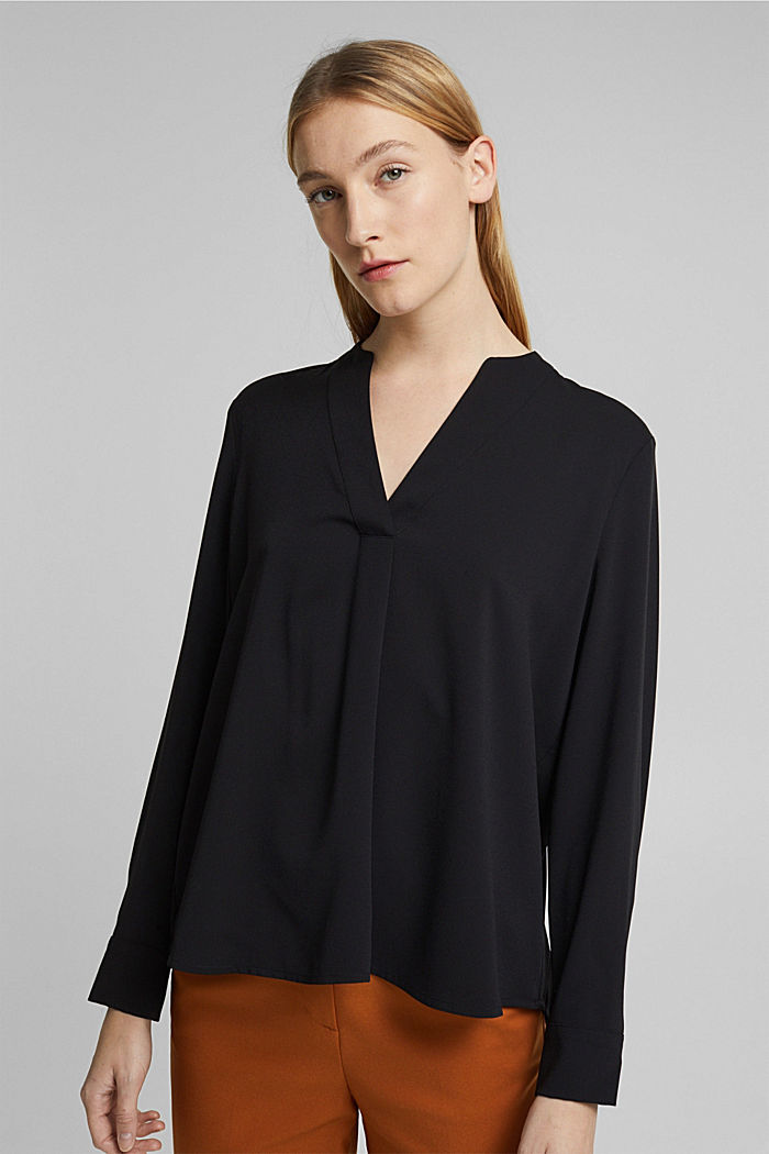Recycled: crêpe tunic blouse, BLACK, detail image number 0