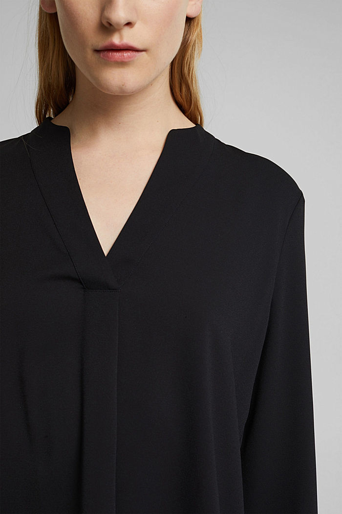 Recycled: crêpe tunic blouse, BLACK, detail image number 2