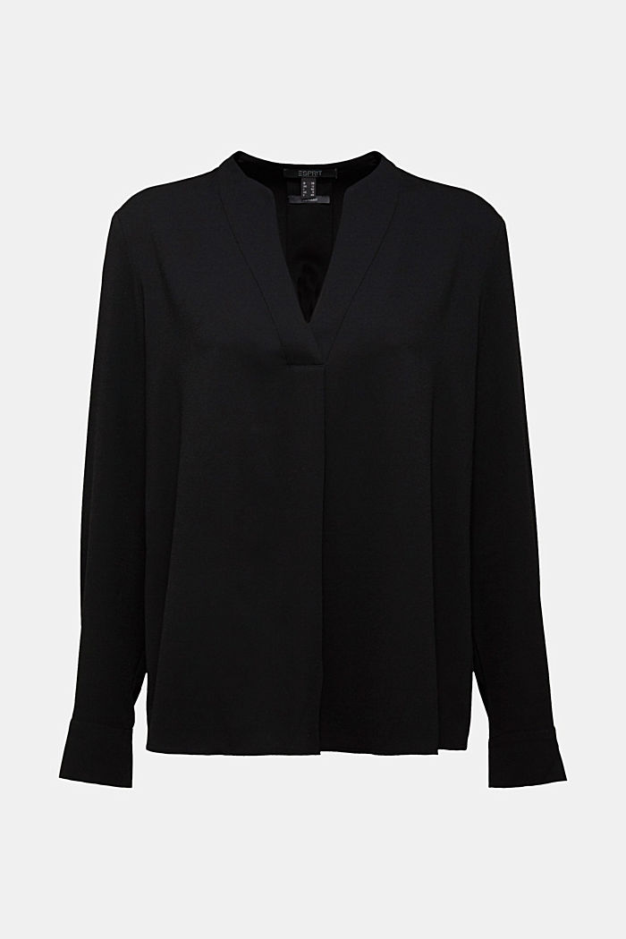 Recycled: crêpe tunic blouse, BLACK, detail image number 5