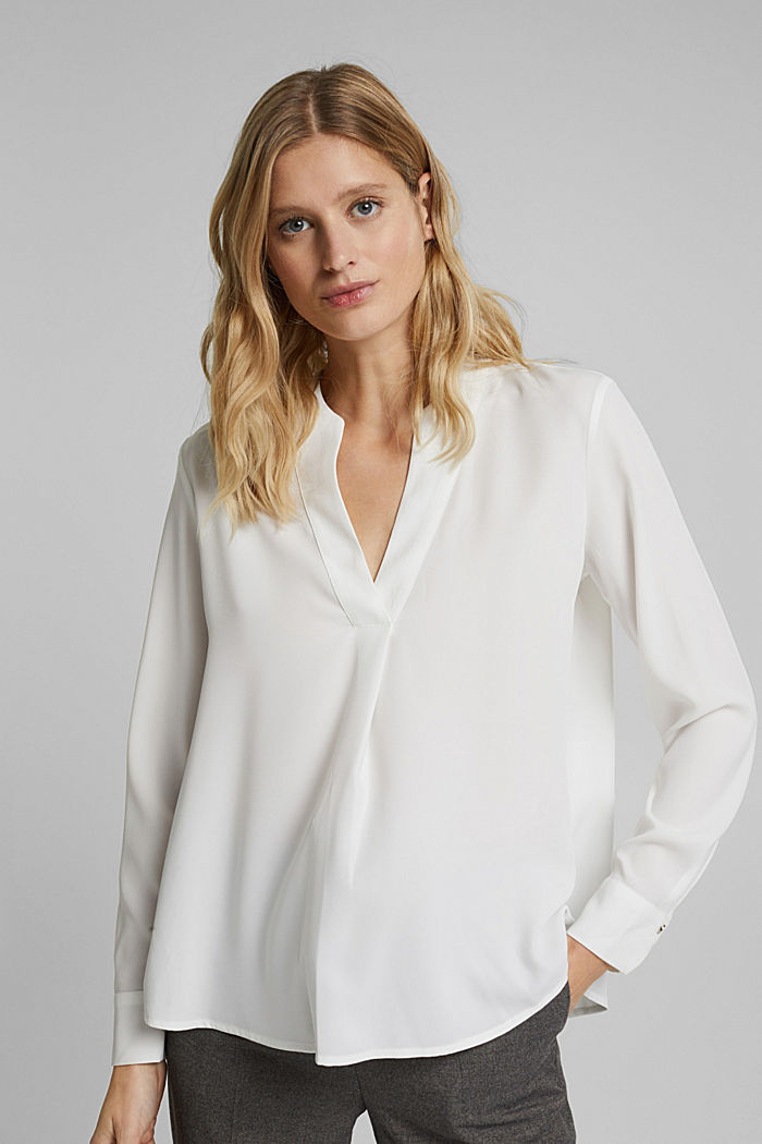 Recycled: crêpe tunic blouse, OFF WHITE, detail image number 0