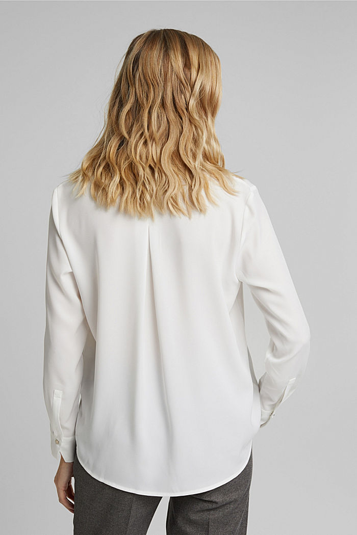 Recycled: crêpe tunic blouse, OFF WHITE, detail image number 3