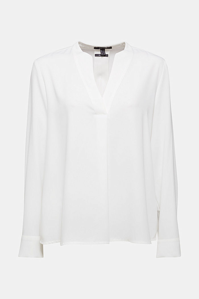 Recycled: crêpe tunic blouse, OFF WHITE, overview