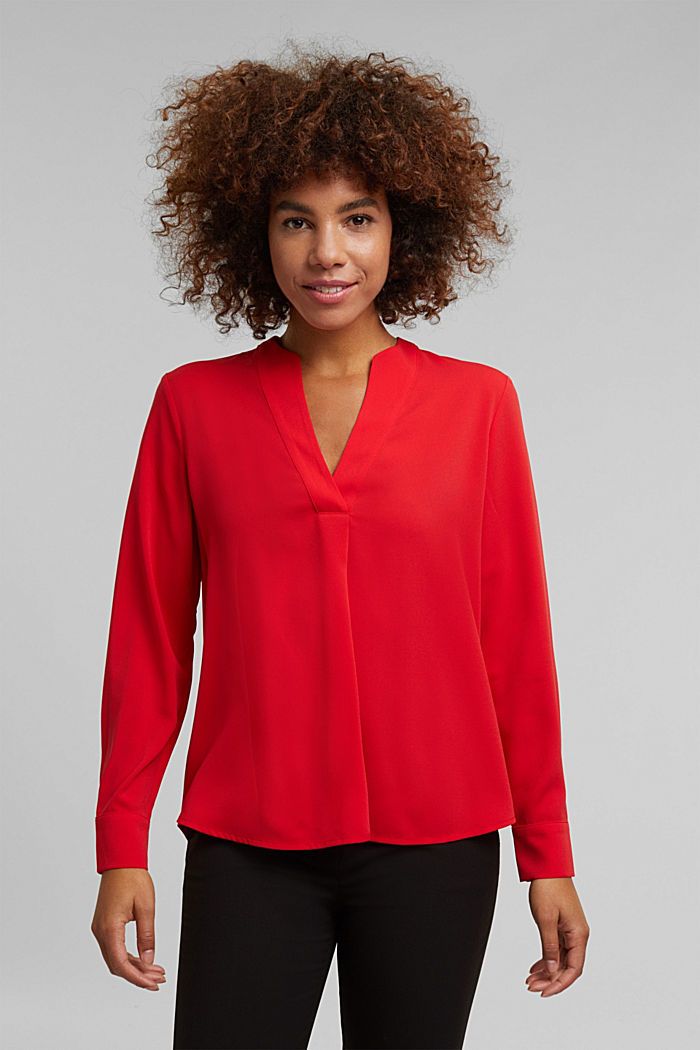 Recycled: crêpe tunic blouse, RED, detail image number 0