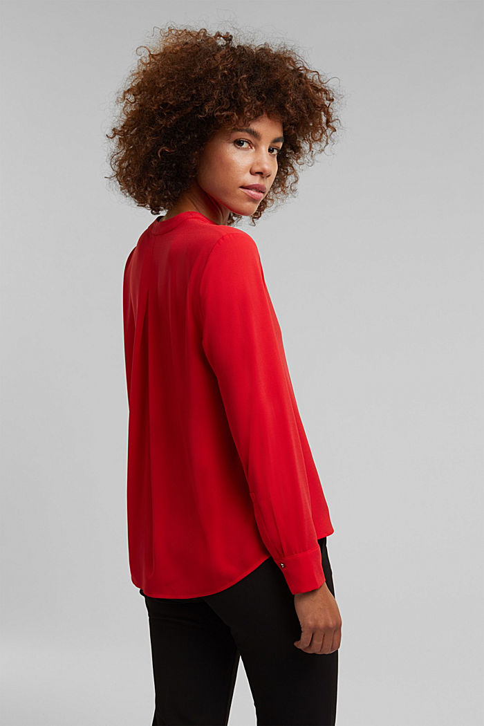 Recycled: crêpe tunic blouse, RED, detail image number 3