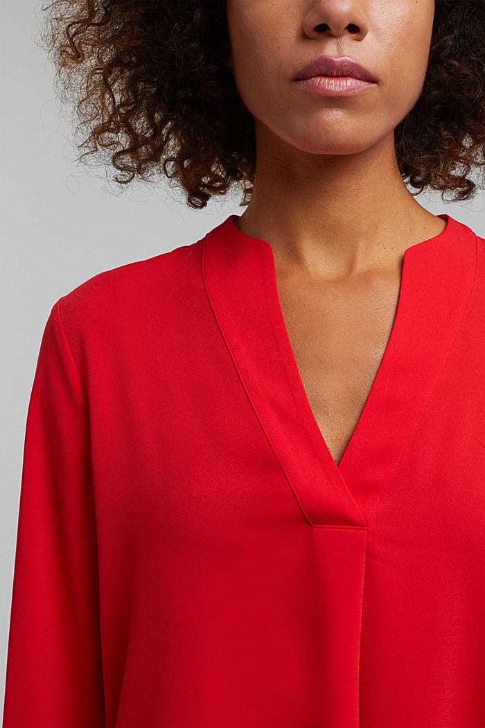 Recycled: crêpe tunic blouse, RED, detail image number 2