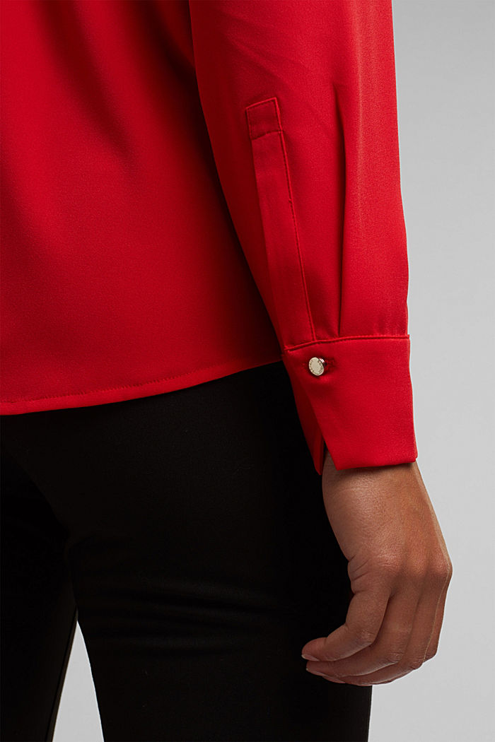 Recycled: crêpe tunic blouse, RED, detail image number 5