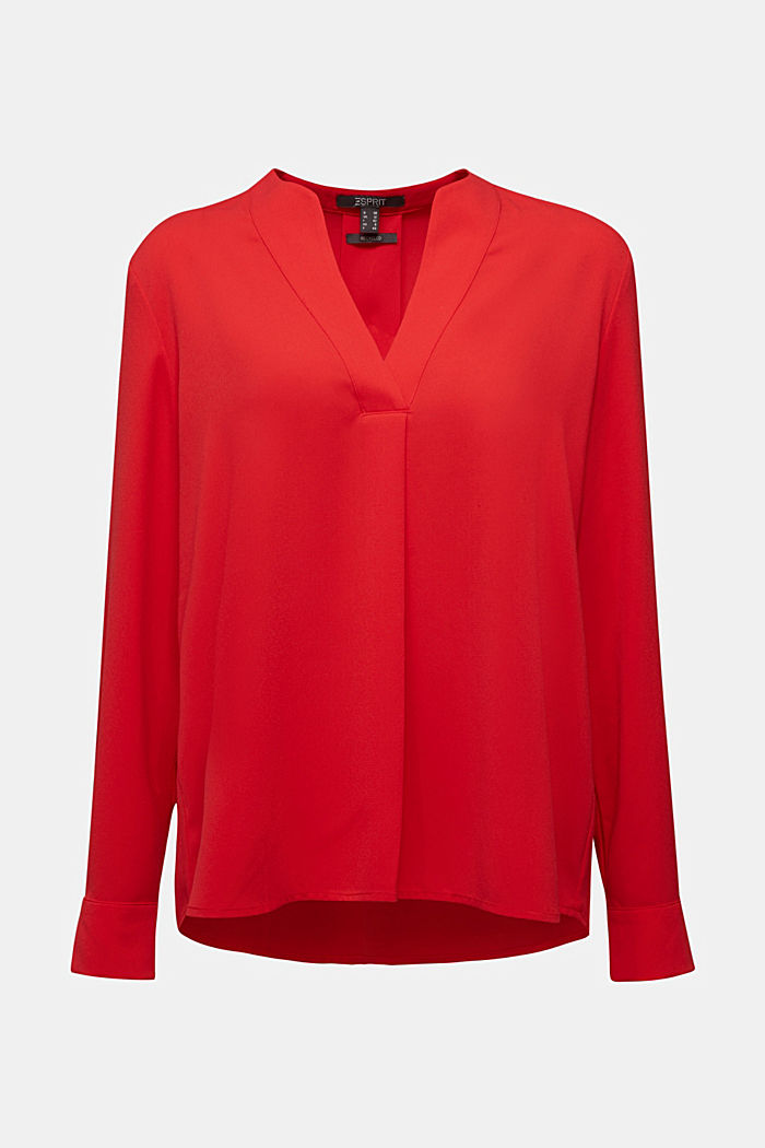Recycled: crêpe tunic blouse, RED, detail image number 6