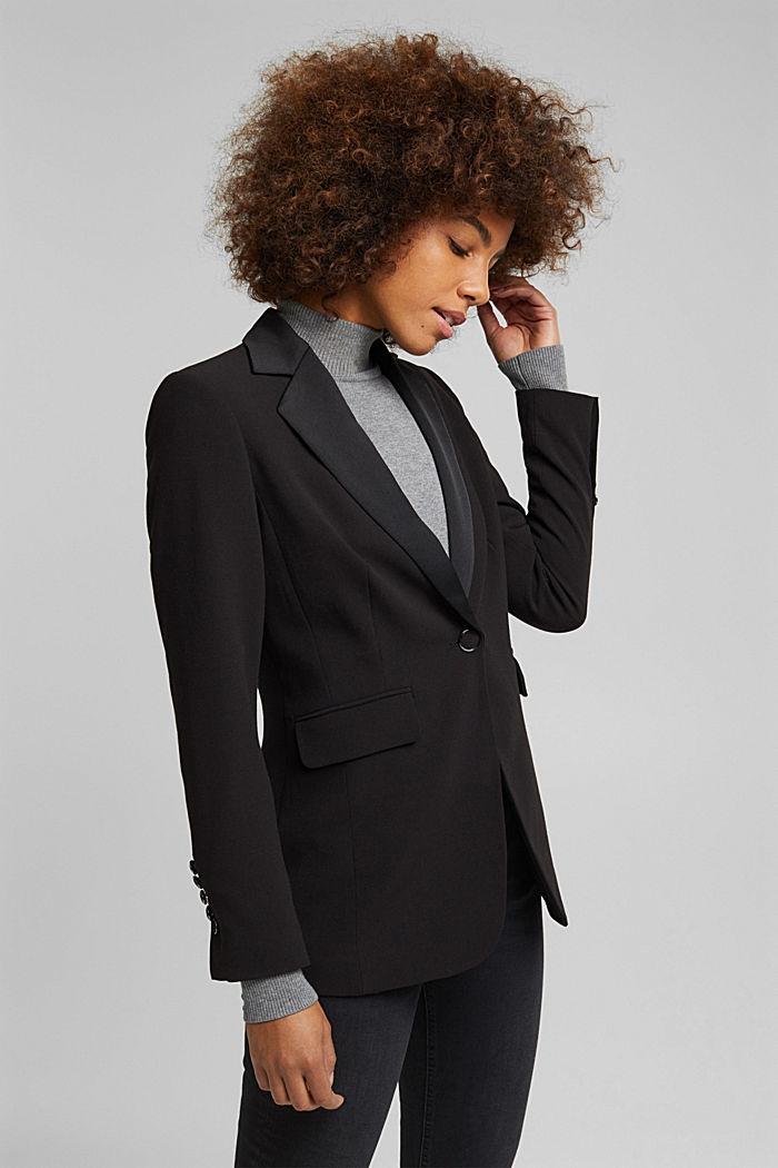 Blazer with shoulder pads, BLACK, detail image number 0