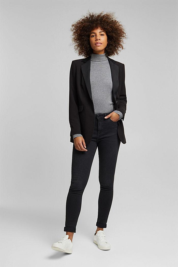 Blazer with shoulder pads, BLACK, detail image number 1