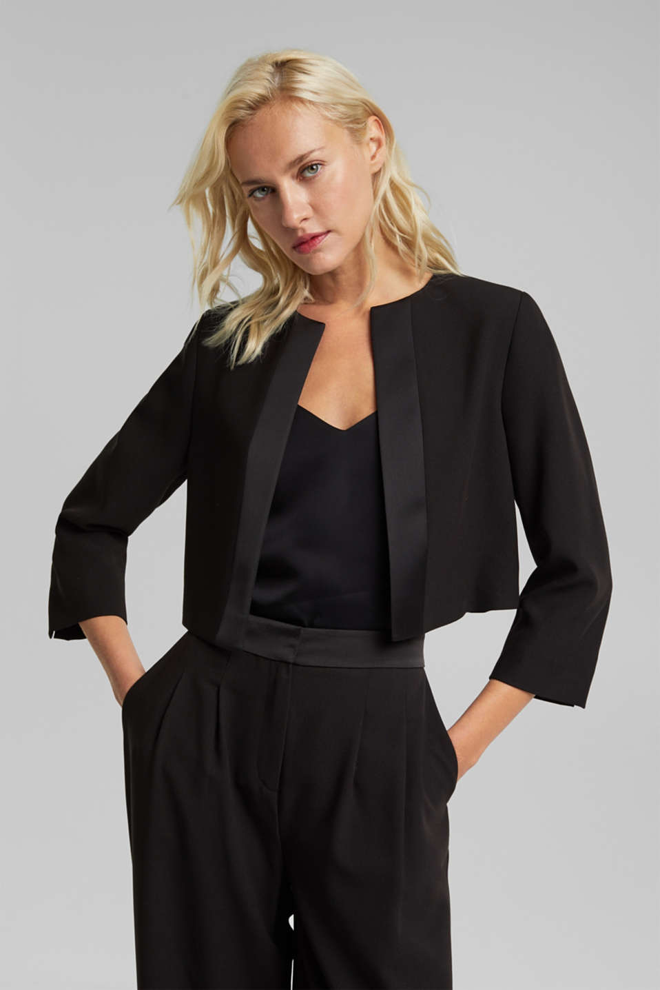 Esprit - Recycled: bolero jacket with satin piping