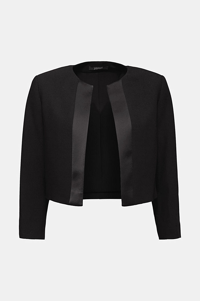 Recycled: bolero jacket with satin piping, BLACK, detail image number 5