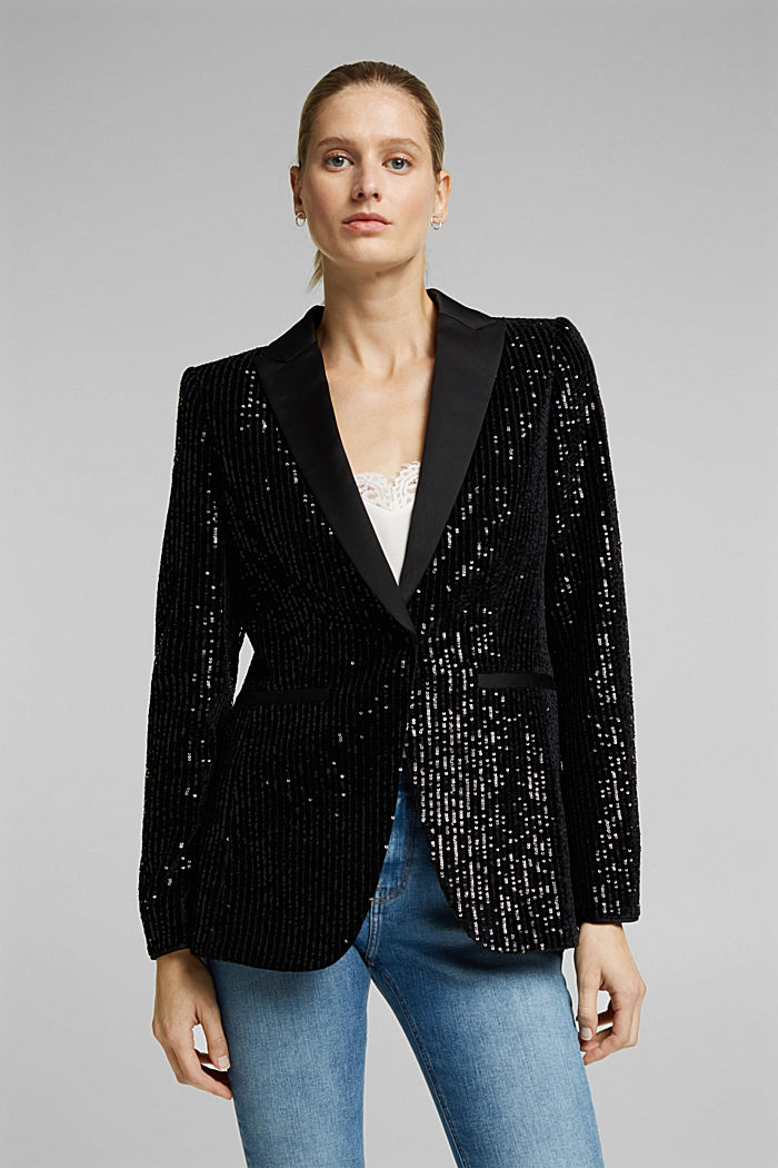 Velvet blazer with sequins, BLACK, detail image number 0