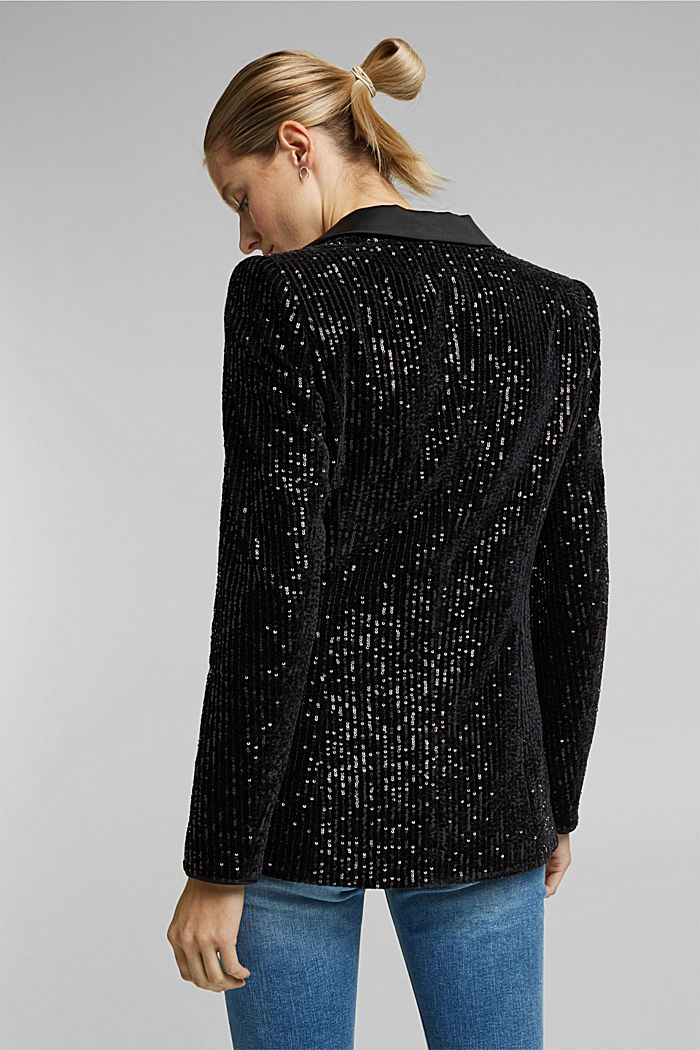 Velvet blazer with sequins, BLACK, detail image number 3