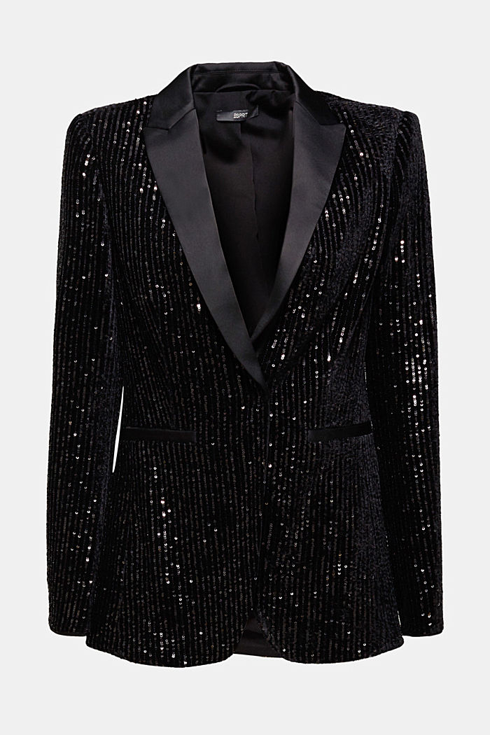 Velvet blazer with sequins, BLACK, overview