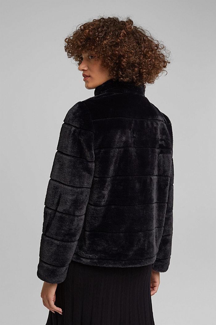 Short faux fur jacket, BLACK, detail image number 3