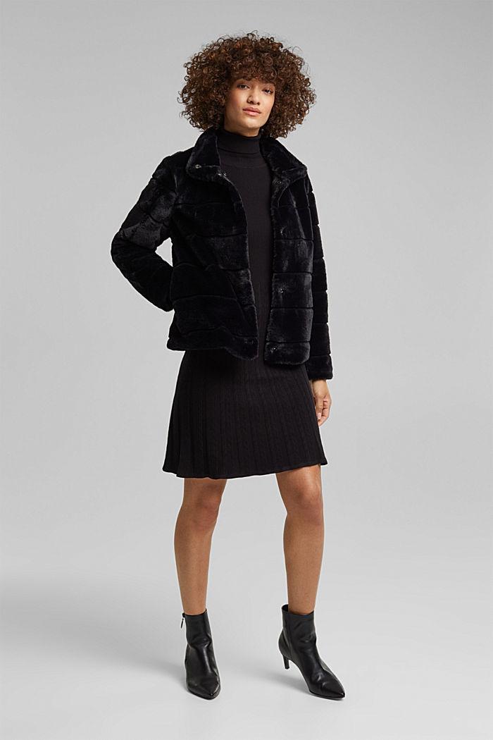 Short faux fur jacket, BLACK, detail image number 1