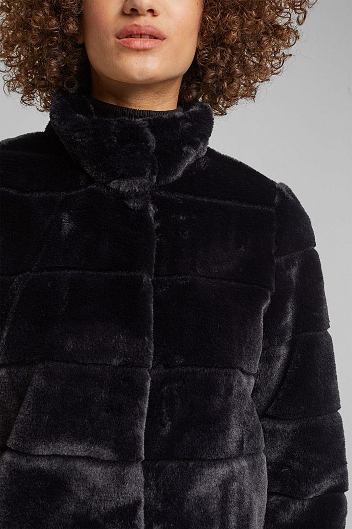 Short faux fur jacket, BLACK, detail image number 2