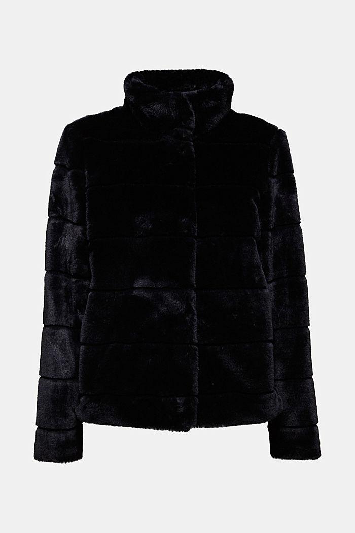 Short faux fur jacket, BLACK, detail image number 5