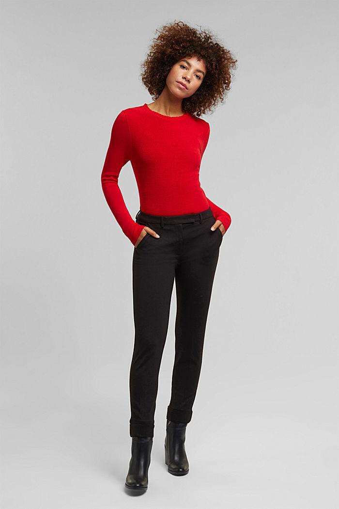 Žensky stylizovaný pulovr, LENZING™ ECOVERO™, RED, detail image number 1