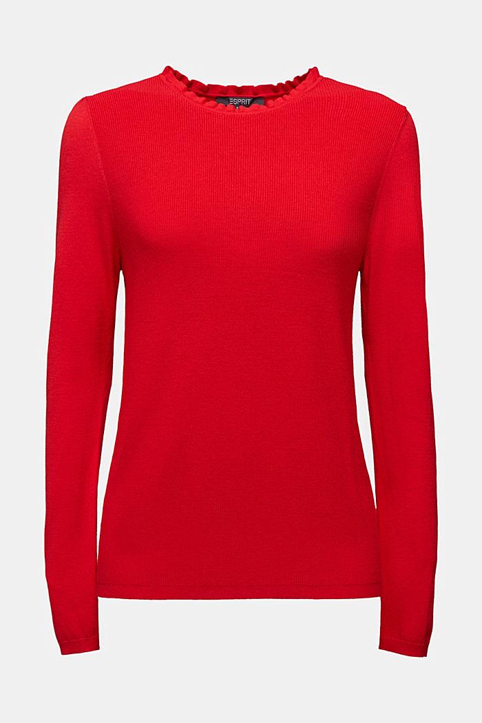 Žensky stylizovaný pulovr, LENZING™ ECOVERO™, RED, detail image number 5